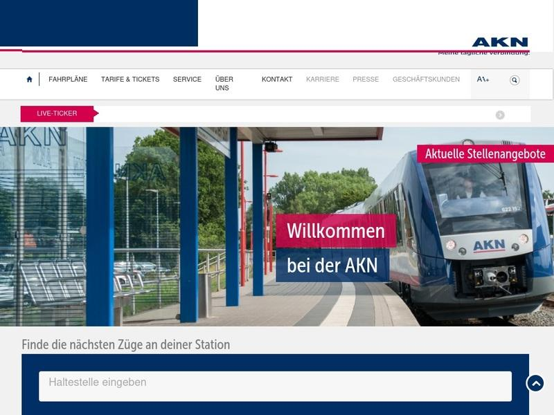 Screenshot von www.akn.de